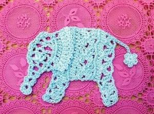 вязаный ажурный слон